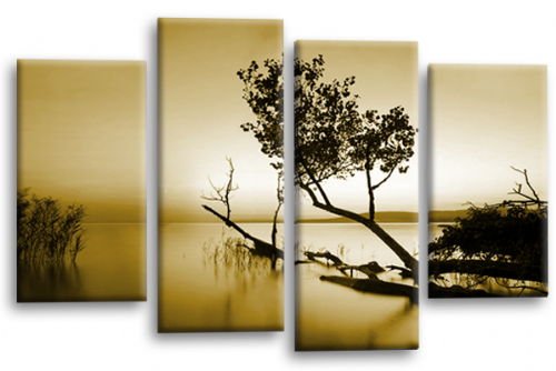Sunset Landscape Wall Art Picture Sepia Cream Canvas Split Panel